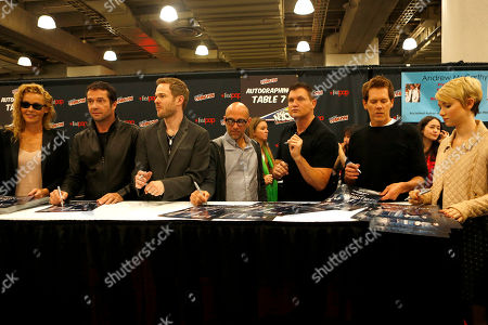 """From left, Connie Nielsen, James Purefoy, Shawn Ashmore, Marcos Siega, Kevin Williamson, Kevin Bacon, and Valorie Curry participate in FOX's """"The Following"""" autograph signing and panel during New York Comic Con, on at Javits Convention Center, in New York City, NY"""