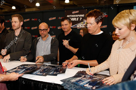 """From left, Shawn Ashmore, Marcos Siega, Kevin Williamson, Kevin Bacon, and Valorie Curry participate in FOX's """"The Following"""" autograph signing and panel during New York Comic Con, on at Javits Convention Center, in New York City, NY"""