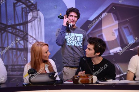 From left, Maci Bookout, Tyler Posey, and Dylan O'Brien during MTV's 'Restore the Shore'? telethon at the MTV Times Square Studios on in New York