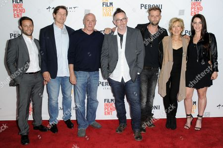 "Josh Berger, from left, Michael Pare, Dayton Callie, Darren Lynn Bousman, Joe Anderson, Lin Shaye and Jessica Lowndes attend ""Abattoir"" premiere held at ArcLight Cinemas, in Culver City, Calif"
