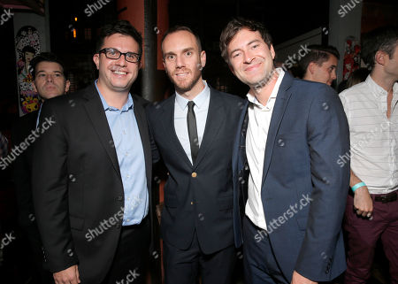 Writer Justin Lader, director Charlie McDowell and Mark Duplass attend the premiere of RADIUS-TWC's 'The One I Love' at the Vista Theatre on in Los Angeles
