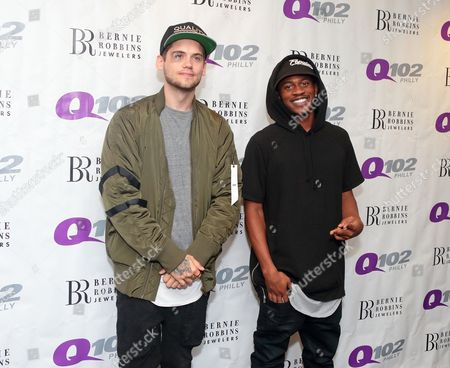 Tony Oller, left, and Malcolm Kelley of the band MKTO visit the Q102 Performance Theater, in Philadelphia