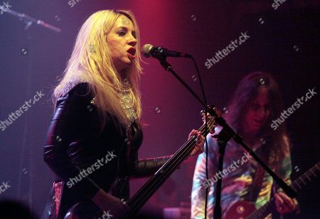 """Stock Picture of Musicians Ego Sensation, left, and Dave W, right, perform with the band White Hills at the """"Only Lovers Left Alive"""" concert event, in New York"""