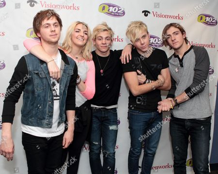 Ellington Ratliff, from left, Rydell Lynch, Ross Lynch, Riker Lynch and Rocky Lynch of the band R5 visit the Q102 Performance Theater, in Philadelphia