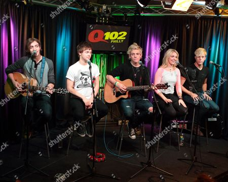 Rocky Lynch, from left, Ellington Ratliff, Ross Lynch, Rydell Lynch and Riker Lynch of the band R5 visit the Q102 Performance Theater, in Philadelphia