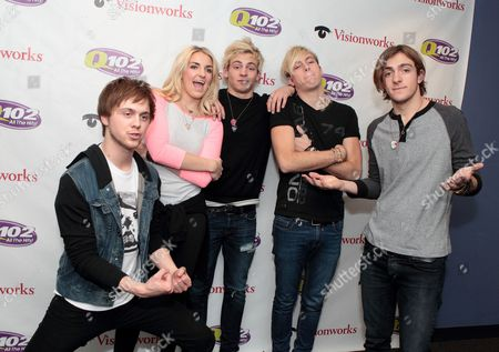 Stock Image of Ellington Ratliff, from left, Rydell Lynch, Ross Lynch, Riker Lynch and Rocky Lynch of the band R5 visit the Q102 Performance Theater, in Philadelphia