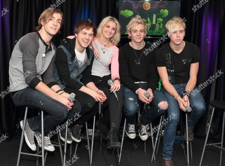 Rocky Lynch, from left, Ellington Ratliff, Rydell Lynch, Ross Lynch and Riker Lynch of the band R5 visit the Q102 Performance Theater, in Philadelphia