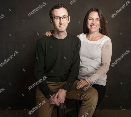 Jesse Moss and Amanda McBaine pose for a portrait at Quaker Good Energy Lodge with GenArt and the Collective, during the Sundance Film Festival, on in Park City, Utah