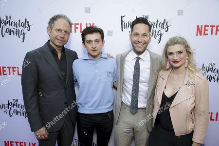 "Director Rob Burnett, Craig Roberts, Paul Rudd and Megan Ferguson seen at Netflix original film special screening of ""The Fundamentals of Caring"" at Arclight Hollywood, in Los Angeles, Ca"