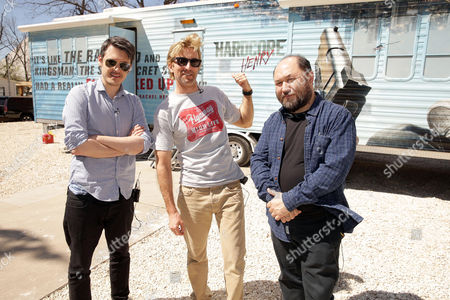 """Director/Writer/Producer/Actor Ilya Naishuller, Executive Producer/Actor Sharlto Copley and Producer Timur Bekmambetov at STX Entertainment """"Hardcore Henry"""" Press Day at 2016 SXSW Film Festival, in Austin, TX"""