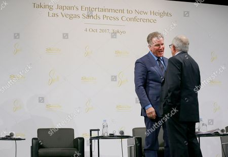 """Robert Goldstein, Irving Azoff. Las Vegas Sands' President Robert Goldstein, left, talks with Azoff MSG Entertainment Chairman Irving Azoff during a press conference in Tokyo, . Casino and resorts operator Las Vegas Sands has deployed David Beckham and other top sports, music and entertainment figures in its effort to woo Japan as it prepares to issue licenses for casinos. Japan's large and wealthy market is luring big-name casino operators who are sweetening their bids with promises of ultra-modern """"integrated resorts."""" Las Vegas Sands told reporters in Tokyo on Wednesday its plans include top-class concert and sports venues to help revive Japan's leisure industry"""