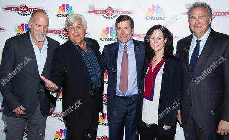 "Jim Ackerman, left, Jay Leno, Steve Burke, Mavis Leno and Mark Hoffman attend ""Jay Leno's Garage"" series launch party at The Press Lounge at Ink 48, in New York"