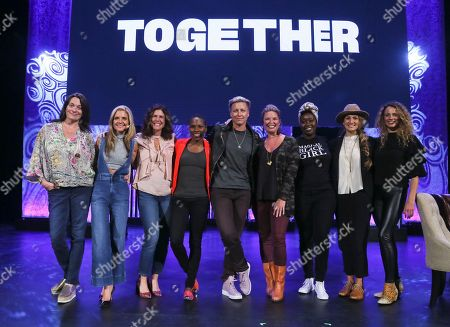 Meredith Walker, Glennon Doyle, Jennifer Rudolph Walsh, Luvvie Ajayi, Abby Wambach, Jen Hatmaker, Evelyn Ngugi, Alexis Jones, Jaycee Gossett. From left, Meredith Walker, Glennon Doyle, Jennifer Rudolph Walsh, Luvvie Ajayi, Abby Wambach, Jen Hatmaker, Evelyn Ngugi, Alexis Jones, and Jaycee Gossett pose for a photograph at the conclusion of Together Live at Bass Concert Hall, in Austin