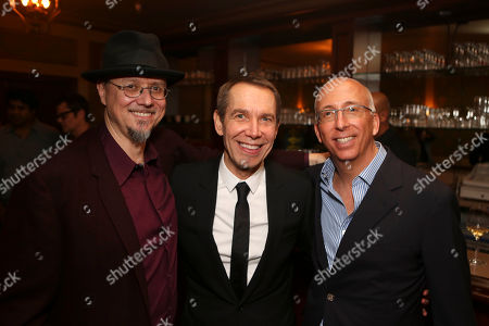 From left, Mark Ryden, Jeff Koons and Bill Bell pose during The Un-Private Collection: Jeff Koons and John Waters, an art talk co-presented by The Broad museum and the Library Foundation of Los Angeles's ALOUD series and held at the Orpheum Theatre on in Los Angeles, Calif