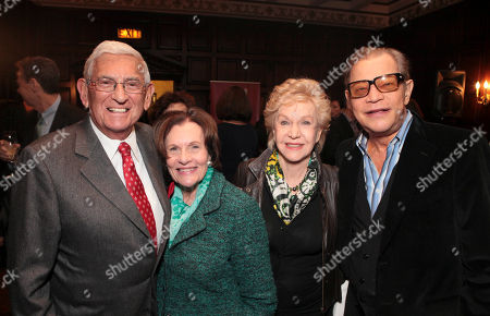 From left, Eli Broad, Edythe Broad, Pat York and actor Michael York pose during The Un-Private Collection: Jeff Koons and John Waters, an art talk co-presented by The Broad museum and the Library Foundation of Los Angeles's ALOUD series and held at the Orpheum Theatre on in Los Angeles, Calif