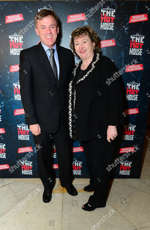 Michael Lynas & Rosemary Squire OBE are seen at the after-party following a performance of The Hothouse at One Whitehall Place in London on . The Hothouse, a play by Harold Pinter, is a 'tragicomedy' about delusion and deceit in a state-run mental institution on Christmas Day