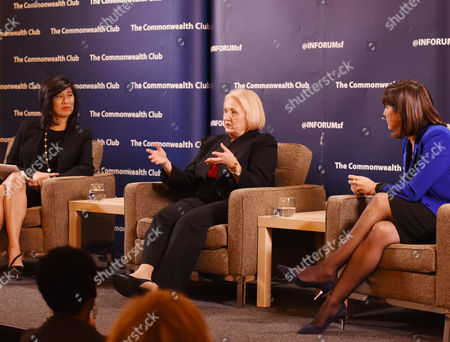 """Melanne Verveer, center, with Andrea Jung, left, and Kim Azzarelli at """"Who Runs the World? Women with Power and Purpose"""" event at The Commonwealth Club, on in San Francisco"""