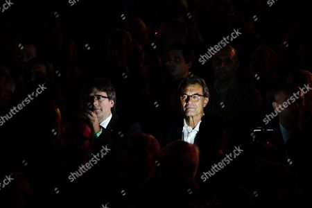 Ex president of Catalonia Artur Mas i Gavarro and the President of Catalonia Carles Puigdemont during Final Demostration and political act in favour of Democracy and the Catalan Referendum on the 1st of October