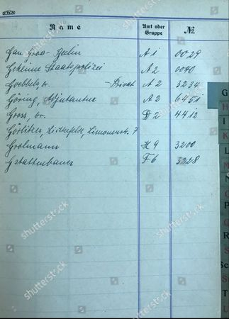 The name of Nazi propoganda chief Joseph Goebbels and Hermann Goering listed inside the address book.