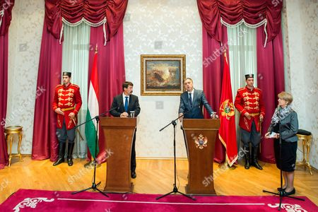 President of Montenegro Filip Vujanovic (C-R) and his Hungarian counterpart Janos Ader (C-L) during their press conference at the presidential Cetinje Palace in Cetinje, Montenegro, 04 October 2017. Hungarian President Ader is on an official visit to Montenegro.