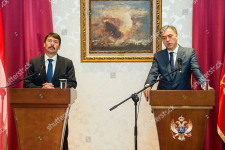 President of Montenegro Filip Vujanovic (R) and his Hungarian counterpart Janos Ader (L) during their press conference at the presidential Cetinje Palace in Cetinje, Montenegro, 04 October 2017. Hungarian President Ader is on an official visit to Montenegro.