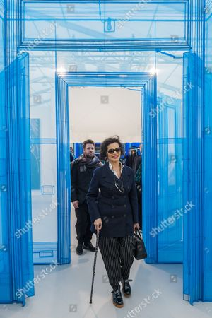 Bianca Jagger passes through Main Entrance 388 Benefit Stret by Do Ho Suh - The Frieze Art Fair in Regents Park. It remains open till 8 Oct 2017.