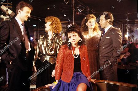 'Watching'  - Malcolm [Paul Bown], Susan Roberts [Liz Crowther], Brenda [Eema Wray], Pamela [Liza Tarbuck], David Lynch [John Bowler]