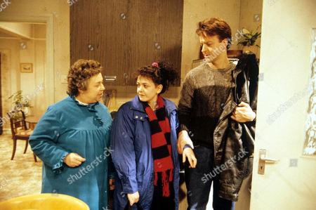 'Watching'  - Mrs Stoneway [Patsy Byrne], Brenda [Emma Wray], Malcolm [Paul Bown]
