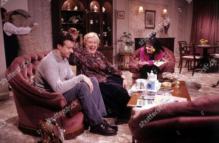 'Watching'  - Malcolm [Paul Bown], Peggy [Elizabeth Spriggs], Brenda [Emma Wray]