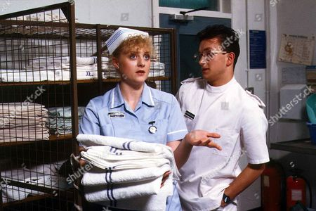 'Children's Ward'  TV - 1989 - New student nurse Gary Miller [Tim Stanley] is finding it difficult to settle down, so he turns to colleague Diane Meadows [Janette Beverley] for consolation.