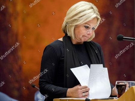 A picture made available on 04 October 2017 shows Dutch Defence Minister Jeanine Hennis-Plasschaert looking on after she announced her resignation in the Dutch parliament De Tweede Kamer in The Hague, Netherlands, 03 October 2017 (issued 04 October 2017). Hennis-Plasschaert stepped down on 03 October after a report denounced 'serious shortcomings' over the deaths of ywo Dutch soldiers in Mali during an exeercise in 2016.