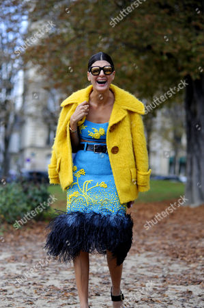 Giovanna Battaglia Engelbert arrives for Moncler Gamme Rouge F/W 17 Show Paris Fashion Week, SS18, FW17 October 3. 2017.
