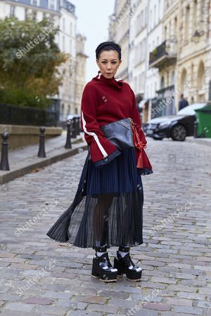 Editorial photo of Street Style Spring Summer 2018 Paris Fashion Week France - 01 Oct 2017