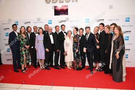 Nitin Sawhney, Hugh Bonneville, Andrew Garfield, Claire Foy, Tom Holland, Andy Serkis with cast and crew of 'Breathe'