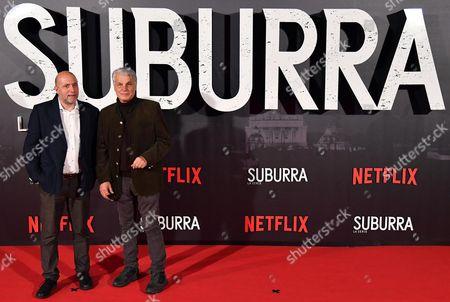 Stock Picture of Italian directors Andrea Molaioli (L) and Michele Placido pose for the Italian premiere of ''Suburra La Serie'' in Rome, Italy, 04 October 2017.
