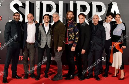 (L-R) Italian actor/cast member Adamo Dionisi, Italian director Andrea Molaioli, Italian actor/cast member Giacomo Ferrara, Italian director Michele Placido, Italian actors/cast members Alessandro Borghi, Francesco Acquaroli, Filippo Nigro, Eduardo Valdarnini and Barbara Chichiarelli pose for the Italian premiere of ''Suburra La Serie'' in Rome, Italy, 04 October 2017.