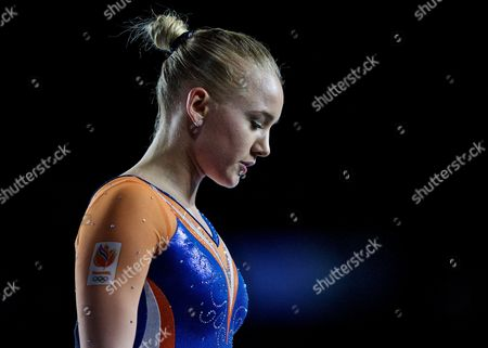 Lieke Wevers of Netherlands reacts after she competed in the Women's Balance Beam at the FIG Artistic Gymnastics World Championships in Montreal, Canada 04 October 2017.