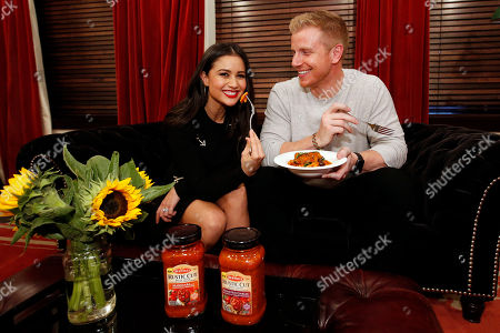 "Sean Lowe, Catherine Lowe. Sean and Catherine Lowe of ""The Bachelor"" enjoy a Tuscan-inspired Cavatelli made with the new Bertolli Rustic Cut Pasta Sauces at Gramercy Terrace on in New York. The new pasta sauces have thick-cut veggies you can see and taste"