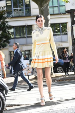 Editorial image of Street Style, Spring Summer 2018, Paris Fashion Week, France - 03 Oct 2017