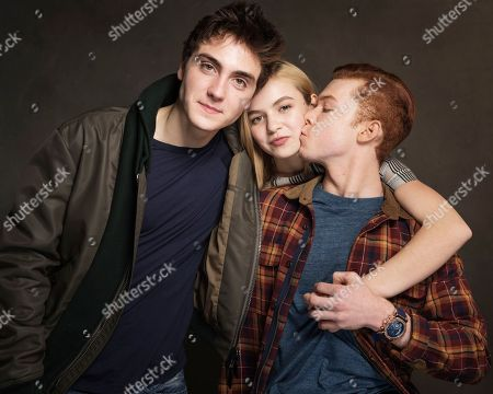 From left, Noah Silver, Morgan Saylor, and Cameron Monaghan pose for a portrait at Quaker Good Energy Lodge with GenArt and the Collective, during the Sundance Film Festival, on in Park City, Utah