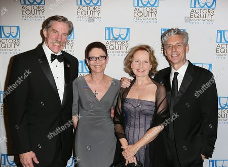 From left, Nick Wyman, President Actors' Equity; Mary McColl, Executive Director Actors' Equity; actress Kate Burton and Michael Ritchie, CTG Artistic Director pose during the arrivals for the Actors' Equity 100th Anniversary Gala at the Loews Hollywood Hotel, in Los Angeles, Calif