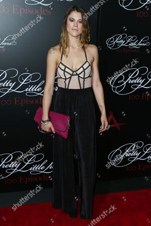 Actress Lindsey Shaw attends the 'Pretty Little Liars' 100th episode celebration at W Hollywood on in Hollywood, California