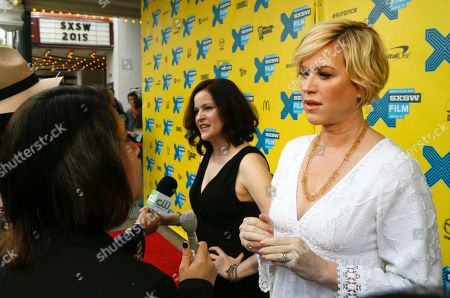 """Molly Ringwald, right, and Ally Sheedy talk to the media on the red carpet for """"The Breakfast Club"""" 30th Anniversary Restoration World Premiere during the South by Southwest Film Festival on in Austin, Texas"""