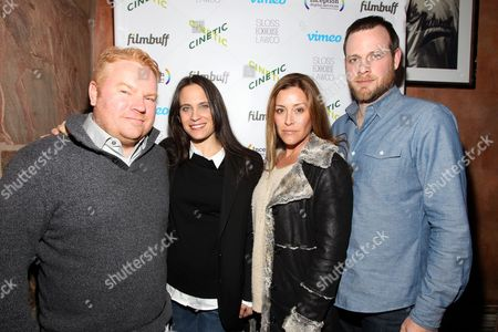 Producer Micheal Harrop left, Amy Kopperman, actress Paige Dylan and director Adam Salky are seen at Cinetic Media's Annual Sundance Party 2015 at Zoom on in Park City, Utah