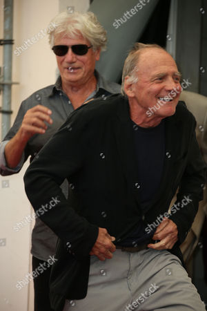 Bruno Ganz, foreground, arrives with Jurgen Prochnow,for the photo call for the film Remember at the 72nd edition of the Venice Film Festival in Venice, Italy, . The 72nd edition of the festival runs until Sept. 12