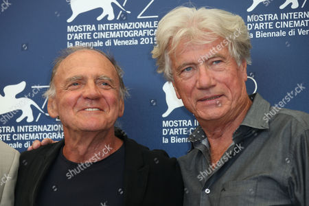 Bruno Ganz and Jurgen Prochnow pose during the photo call for the film Remember at the 72nd edition of the Venice Film Festival in Venice, Italy, . The 72nd edition of the festival runs until Sept. 12