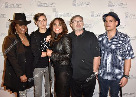 Betty Wright, from left, Nic Collins, Orianne Collins, Phil Collins and Jean Pierre Espiritusanto judge the Little Dreams Foundation Annual Audition at the Seminole Hard Rock Hotel & Casino at the Paradise Live Theater in Hollywood, Fla
