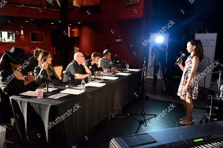Betty Wright, from left, Orianne Collins, Phil Collins, Nic Collins and Jean Pierre Espiritusanto judge the Little Dreams Foundation Annual Audition at the Seminole Hard Rock Hotel & Casino at the Paradise Live Theater in Hollywood, Fla