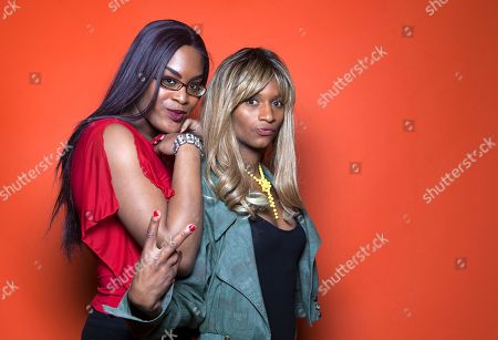 """Singer/actor Mya Taylor, left, and actor Kitana Kiki Rodriguez, pose for a portrait in promotion of their new film """"Tangerine,"""" at the Redbury Hotel in Los Angeles. The movie releases in U.S. theaters on July 10, 2015"""