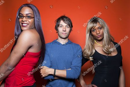 """Singer and actor Mya Taylor, director Sean Baker and actor Kitana Kiki Rodriguez pose for a portrait in promotion of their new film """"Tangerine,"""" at the Redbury Hotel in Los Angeles. The movie releases in U.S. theaters on July 10, 2015"""